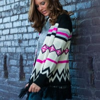 Set Me Free Cardigan, Black-Pink