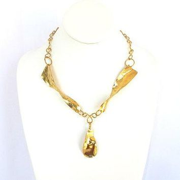 Gold Brass Boho Chic Necklace. Gift for Her