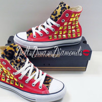 Custom studded Converse with leopard print fur ALL SIZES/ALL Colors