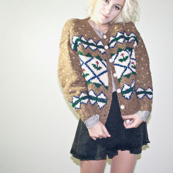 Vintage sweater, winter sweater, ugly, cardigan, wool, brown sweeater, urban outfitters, hipster fashion christmas kitsch kitschy cardigan