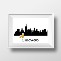 Chicago Skyline Bichon Frise gold foil print - Bichon Frise art print - dog gold foil art print - Modern Home Decor Living Room Bichon