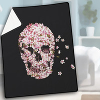 The Cherry Blossom Skulls Blanket, Quilt, Fleece Blanket, Large Size, Medium Size, Small Size