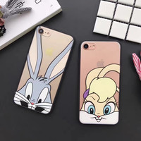 Cute Fashion Bug Bunny rabbit clear hard Phone Case For iPhone7 7Plus 6 6S Plus 5 5S SE -0316