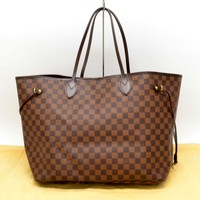 Authentic Louis Vuitton Neverfull GM Shoulder Tote Hand Bag Damier Brown Red