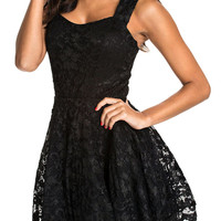 Black Lace Strappy Back Cut Out Mini Skater Dress