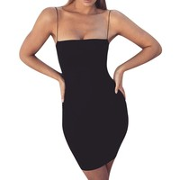 Summer Black Sexy Dress Women Clothes Sexy Solid Sleeveless Spaghetti Strap Bandage Dress Gothic Bodycon Dress vestidos