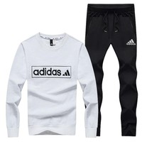 ADIDAS 2018 winter plus velvet new simple men's sports and leisure two-piece White
