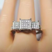Vintage 10K White Gold Micro Diamond Ring - Size 10