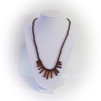 Moonstone and Red Mineral Bead Necklace