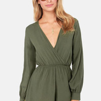 In the Balance Olive Green Romper