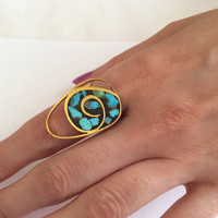 Brass adjustable ring with turquoise stone work