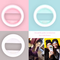 2016 New Protable Round Lens Mobile Phone Selfie LED Ring Flash Light USB Charged