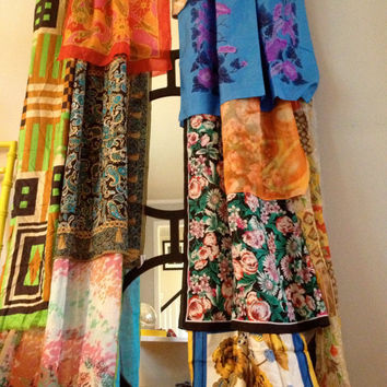 Boho Gypsy Curtain Panels, Window Treatment- Bohemian, Anthropologie Inspired - OOAK, Repurposed, Upcycled Textiles