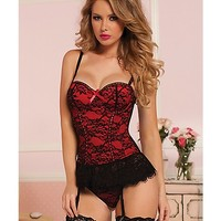 Victorian Lace Bustier and Thong Set - Red - Spencer's