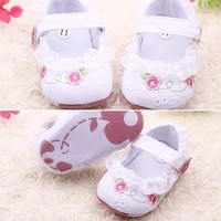 Toddler Newborn Girl Gauze Bowknot Strappy Baby Shoes Kid Crib Shoes