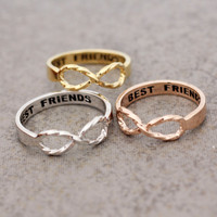Best Friend Infinity ring with twisted band in Gold / White Gold / Rose Gold Color