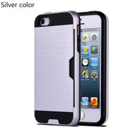 Silver Shock Proof Plastic TPU Hybrid Armor Card Holder Slot Silicone Phone Back Case Cover For Apple iPhone 7 7 Plus 6 Plus 6s Plus 6 6S 5 5S SE