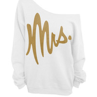Mrs. - Slouchy Off the Shoulder Sweatshirt - White with Gold