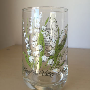 Vintage Flower of the Month Drinking Glass, May Lily of the Valley Drinkware, White Flower Glassware, Birthday Gift