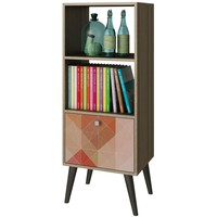 Modern Oak Finish Bookcase with Mid-Century Style Wood Legs