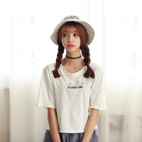 Wild flower embroidery letters short T-shirt
