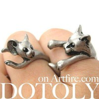 Cat and Mouse Shaped Animal Wrap Ring 2 Piece Set | US SIze 4 - 8.5