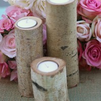 Birch Candles Rustic Wedding Decor