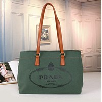 PRADA Women Leather Tote Crossbody Satchel Shoulder Bag Handbag