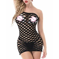 6 Color Cotton Women Hollow Elasticity Seamless Crotch Mini Dress Fishnet Sexy Lingerie Hot Erotic Underwear Sex Costume