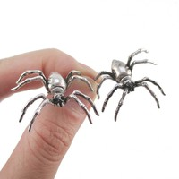 3D Realistic Spider Tarantulas Bug Shaped Front and Back Stud Earrings in Silver