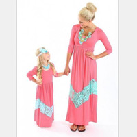 Hot Selling Matching Family Dress Summer Mother and Daughter Girls Outfits Lace Fall Dress Beach Bohemia Maxi Dresses