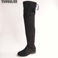 YOUGOLUN Winter Women Genuine Cow Suede leather Over The knee Boots Sexy Thigh High LOWLAND Boot Fashion Woman High Boots Shoes
