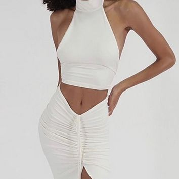 New women's round neck cropped halter top with drawstring half skirt suit