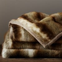 Faux Fur Throw - Brown Wolf | Pottery Barn