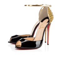 Pina Spikes 120 Black Gold Patent Leather
