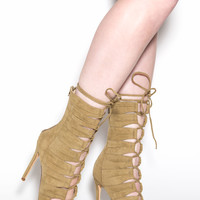 Lace-Up Perfection Faux Suede Heels