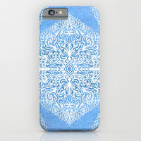 White Gouache Doodle on Pearly Blue Paint iPhone & iPod Case by Micklyn