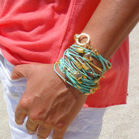 Mint Green and Gold Leather Bracelet / Necklace