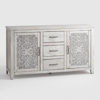 Gray Mahogany Carved Wood Verena Storage Cabinet