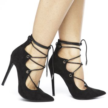 ALAIAH LACE UP PUMP - BLACK (SAMPLE)