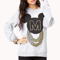 FOREVER 21 Street-Chic Mickey Mouse Sweatshirt Heather Grey/Black Small