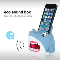 Cute Hands-Free Shark Sound Amplifier Stand Speaker Holder for iPhone 4 4S 5 5S 5C - Blue