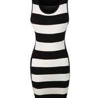 LE3NO Womens Lightweight Striped Round Neck Sleeveless Dress (CLEARANCE)