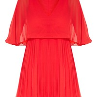 Red Cape Pleated Detail Skater Dress