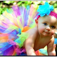 Rainbow Tutu for baby, toddler, girls - great for birthdays, photo props, dance