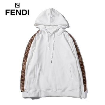Fendi fashion new casual hooded cotton long-sleeved sweater White