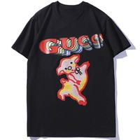 GUCCI 2019 new embroidered pig female models wild half sleeve shirt Black
