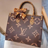 LV Louis Vuitton classic printed letters color matching ladies shopping handbag shoulder bag