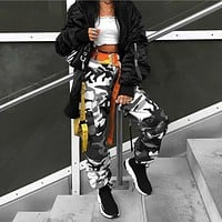 Women Casual Fashion Camouflage Print Leisure Pants Trousers