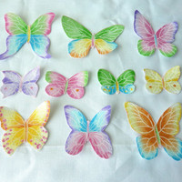 Glitter Butterfly Fabric Iron On Appliques  Set of 10